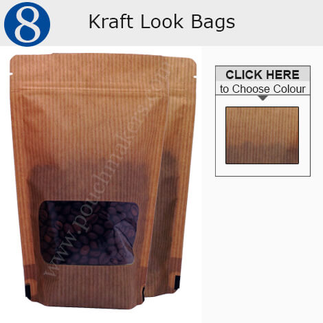 Kraft Look Pouches With Rectangle Window