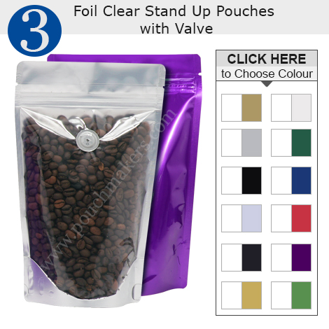 Foil Clear Stand Up Pouches With Valve